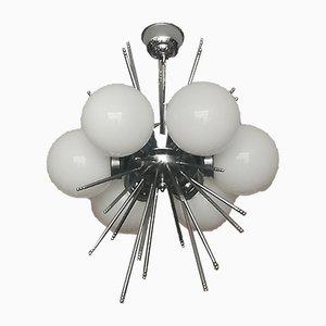 Deckenlampe aus Opalglas & verchromtem Metall, 1970er