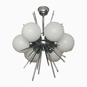 Opaline Glass and Chromed Metal Ceiling Lamp, 1970s