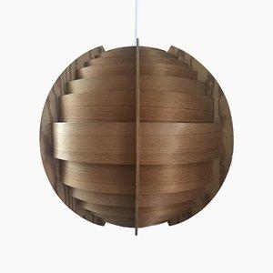 Lampada da soffitto grande sferica impiallacciata in pino di Hans-Agne Jakobsson per Ellysett AB, Svezia, anni '50