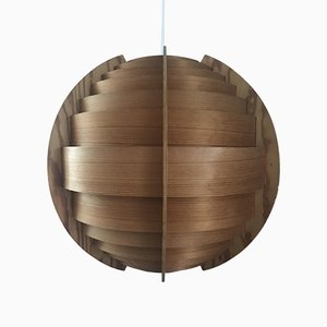 Large Swedish Pine Veneer Spherical Ceiling Lamp by Hans-Agne Jakobsson for Ellysett AB, 1950s