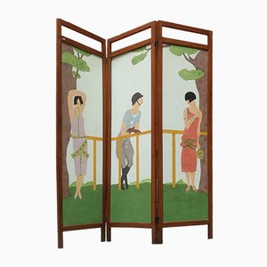 Italian Decorated Walnut & Brass Folding Screen, 1920s