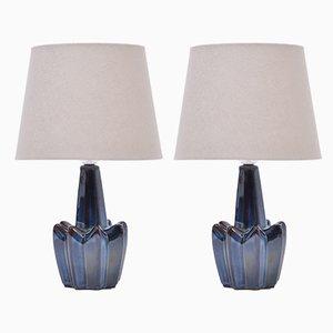 Lámparas de mesa modelo 1046 de gres azul oscuro de Søholm, años 70. Juego de 2