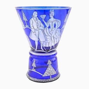 Antikes Pokalglas aus blauem Glas von Josef Hoffmann für Wiener Werkstätten