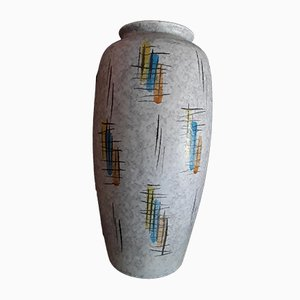 Mid-Century Light Grey Ceramic Floor Vase from Scheurich, 1950s
