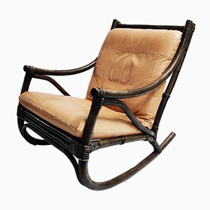 Vintage Leather and Rattan Rocking Chair, 1960s