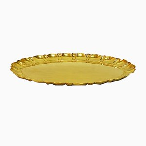 Vintage Swedish Brass Tray by Lars Holmström for Arvika, 1950s