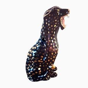 Escultura de pantera italiana vintage en negro y dorado de Bell Europa, 1964