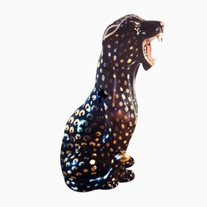 Vintage Italian Black & Golden Panther Sculpture from Bell Europa, 1964
