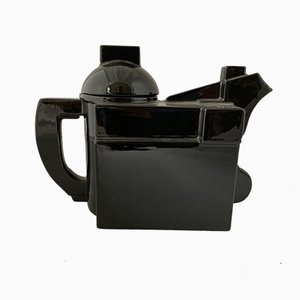 Moderne schwarze Teekanne aus Keramik von Kazimir Malevich für Cleto Munari, 2000er