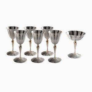 Antikes Set aus Kelchglas & Wasserkanne aus Muranoglas