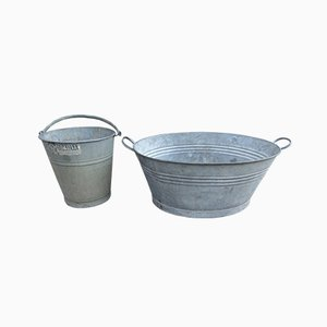 Vintage Industrial Galvanized Metal Garden Planters, 1950s, Set of 2