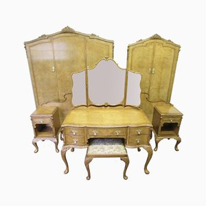 Large Queen Anne Style Burr Walnut Bedroom Set, 1920s