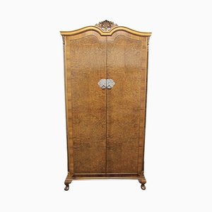 Queen Anne Style Burr Walnut Wardrobe, 1920s