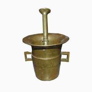 Mortaio e pestello antico in bronzo