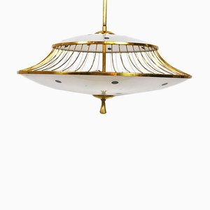 Vintage Italian Brass & Frosted Glass Ceiling Lamp, 1950s
