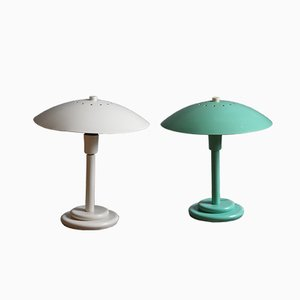 French Lacquered Metal Table Lamps from Aluminor, 1980s, Set of 2