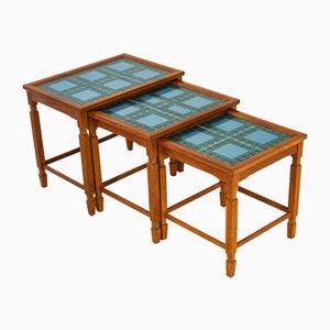 Danish Blue Tiled Teak Nesting Tables, 1960s, Set of 3