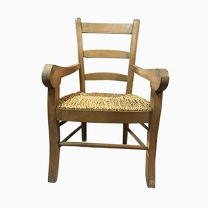 Vintage Rustic Cherry & Straw Armchair, 1950s