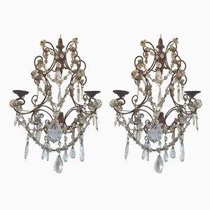 Vintage Doppelwandlampen aus Eisen & Kristallglas, 1950er, 2er Set