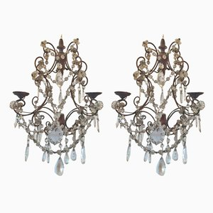 Vintage Iron & Crystal Double Wall Lights, 1950s, Set of 2