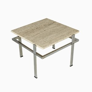 Swedish Steel and Travertine Coffee Table, 1960s
