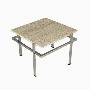 Swedish Steel and Travertine Coffee Table, 1960s