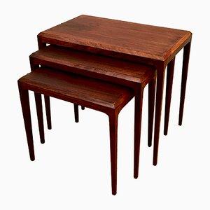 Tavolini ad incastro vintage in palissandro di Johannes Andersen per Silkeborg Møbelfabrik, Danimarca, anni '60