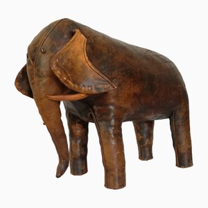 Vintage Fußhocker aus Leder in Elefanten-Optik von Dimitri Omersa, 1960er