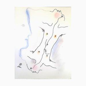Litografia doppia colorata a mano di Jean Cocteau, 1930