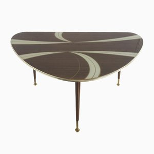 Brown & White Glass Kidney Shaped Coffee Table, 1950s