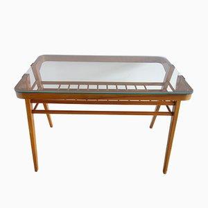 Couchtisch mit Holzgestell & Glasplatte, 1960er