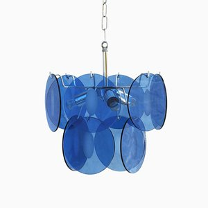 Vintage French Blue Glass Ceiling Lamp, 1970s