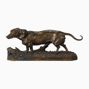Antike Skulptur eines Basset Hound von P.J. Mêne