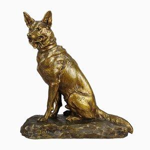 Antike Hundeskulptur von Louis Riché