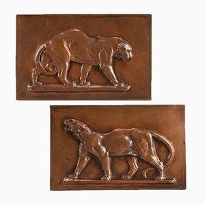 Antike Wandtafeln aus Bronze von Antoine L. Barye, 2er Set