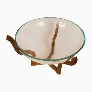 Milieu de Table Moderniste en Bronze et Verre, années 60