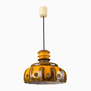 Vintage German Ceramic Fat Lava Pendant Lamp, 1960s