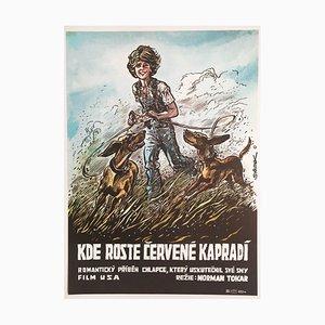 Póster de la película Where the Red Fern Grows vintage de Karel Saudek, años 80