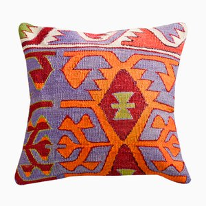 Blue and Orange Wool & Cotton Boho Kilim Pillow Cover by Zencef