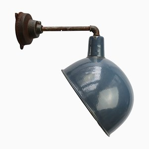 Vintage Industrial Light Blue Enamel & Cast Iron Factory Wall Light, 1950s