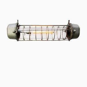 Industrielle Vintage Hängelampe aus gegossenem Aluminium & Glas, 1950er