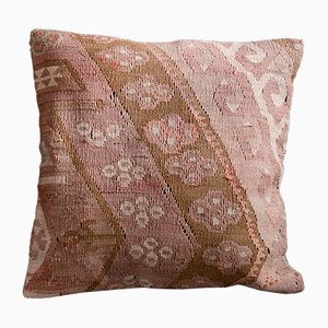 Pink and Beige Wool & Cotton Floral Kilim Cushion Case by Zencef
