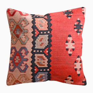 Multicolored Wool & Cotton Kilim Pillow Case by Zencef
