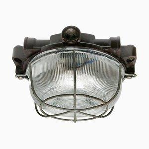 Aplique o aplique industrial vintage de vidrio y baquelita, años 50