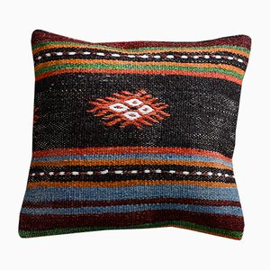 Black, Blue & Orange Wool & Cotton Tribal Kilim Pillow Cover by Zencef