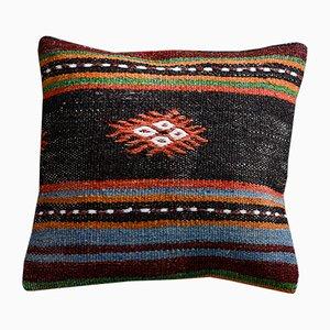 Funda de cojín Kilim tribal de lana y algodón en negro, azul y naranja de Zencef
