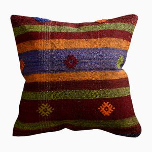Multicolored Wool & Cotton Striped Floral Kilim Pillow Case by Zencef