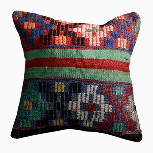 Blue, Red and Green Wool & Cotton Kilim Pillow Cover by Zencef