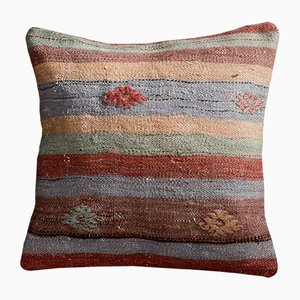 Brown, Green and Blue Wool & Cotton Striped Floral Kilim Cushion Case by Zencef