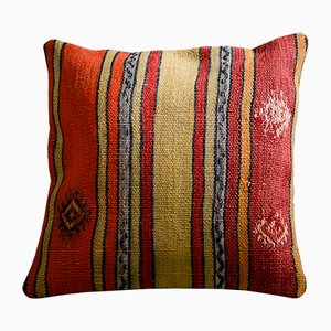 Red and Yellow Wool & Cotton Striped Kilim Pillow Case by Zencef